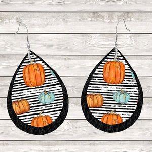 Pumpkin Stripes on Black Leather Teardrop Earrings